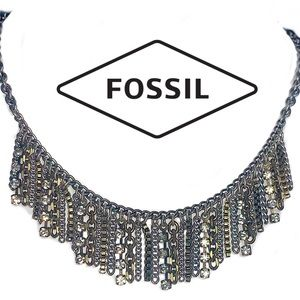 Fossil multi chain bib waterfall necklace